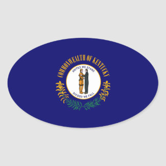 Kentucky State Flag Design Oval Sticker