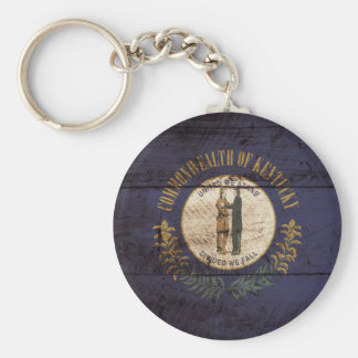 Kentucky State Flag on Old Wood Grain Basic Round Button Keychain