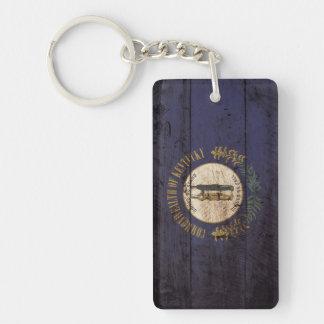 Kentucky State Flag on Old Wood Grain Double-Sided Rectangular Acrylic Keychain