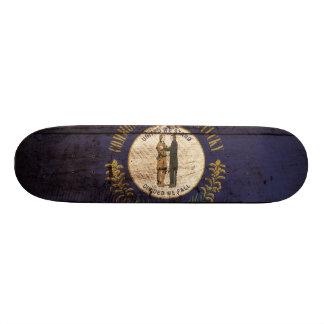 Kentucky State Flag on Old Wood Grain Skateboard Deck