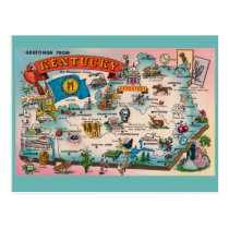 Kentucky State Map Postcard
