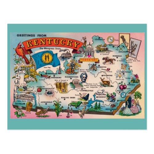 Kentucky State Map Postcard