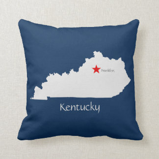 Kentucky State Map with Capitol Star Throw Pillow