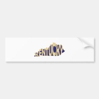 Kentucky State Name Word Art Yellow Bumper Sticker