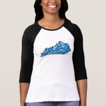 Kentucky State Outline Blue Paisley T-Shirt