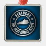 """Kentucky Steel (Blue)"" Square Metal Christmas Ornament"