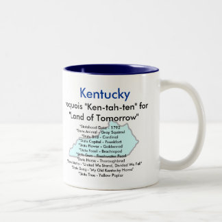 Kentucky Symbols & Map Two-Tone Coffee Mug