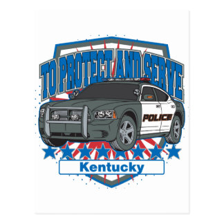 Kentucky To Protect and Serve Police Squad Car Postcard