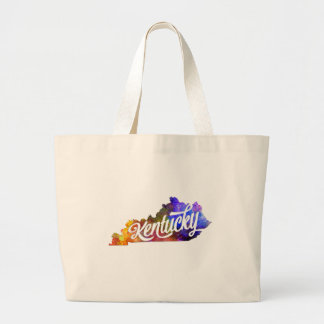 Kentucky U.S. State in watercolor text cut out Large Tote Bag
