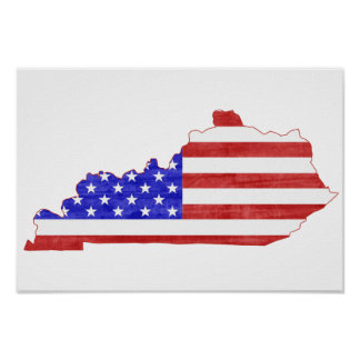 Kentucky USA silhouette state map Poster