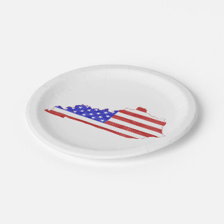 Kentucky USA silhouette state map 7 Inch Paper Plate