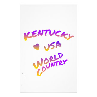 Kentucky usa world country, colorful text art stationery