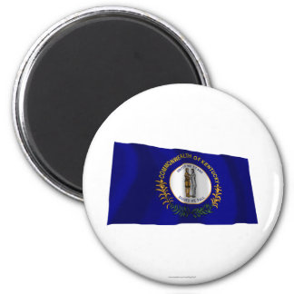 Kentucky Waving Flag 2 Inch Round Magnet