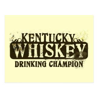 Kentucky Whiskey Drinking Champion Postcard