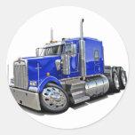 Kenworth w900 Blue Truck Round Sticker