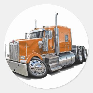 Kenworth w900 Orange Truck Classic Round Sticker
