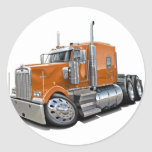 Kenworth w900 Orange Truck Round Sticker
