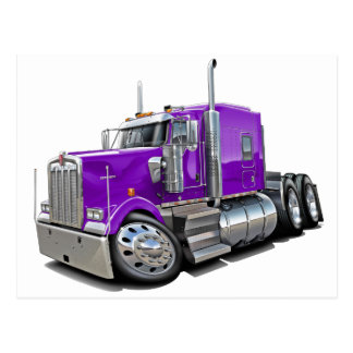 Kenworth w900 Purple Truck Postcard