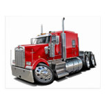 Kenworth w900 Red Truck Postcard