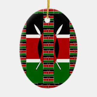 Kenya Black red green Ceramic Ornament