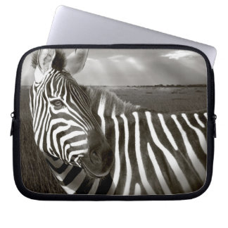 Kenya. Black & white of zebra and plain. Laptop Sleeve