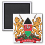 Kenya Coat of Arms detail 2 Inch Square Magnet