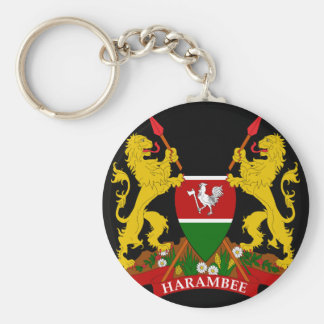 kenya emblem basic round button keychain