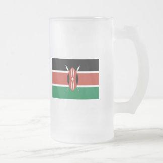 Kenya FLAG International Frosted Glass Beer Mug