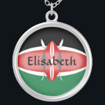 """Kenya Flag   Name Necklace<br><div class=""""desc"""">The design for this attractive pendant features a name overlying the Kenyan flag,  which has been neatly morphed to fit the round shape. The featured name can be changed to any name or text of your choice,  creating a personalized gift for someone who loves Kenya. &#169; 2011 FlagAndMap</div>"""