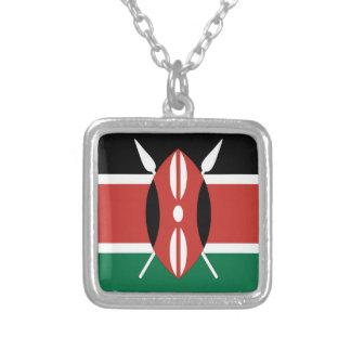 Kenya Flag Silver Plated Necklace