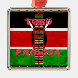 Kenya Flag Tuko Pamoja Square Metal Christmas Ornament