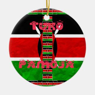 Kenya Flag Tuko Pamoja Double-Sided Ceramic Round Christmas Ornament