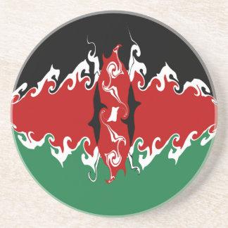 Kenya Gnarly Flag Drink Coasters