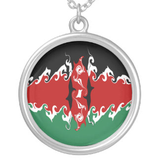 Kenya Gnarly Flag Silver Plated Necklace