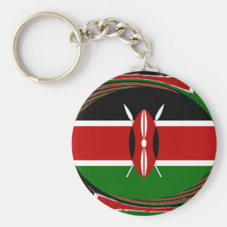 Kenya Hakuna Matata Black Red Green Basic Round Button Keychain