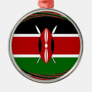 Kenya Hakuna Matata Black Red Green Metal Ornament