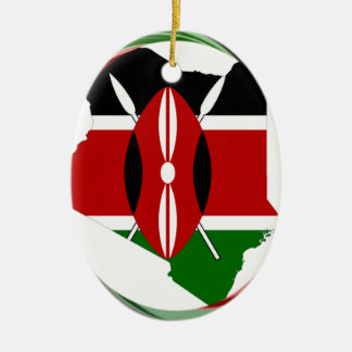 Kenya Hakuna Matata Double-Sided Oval Ceramic Christmas Ornament