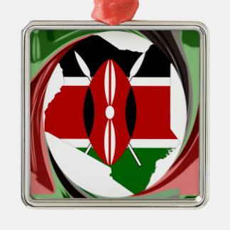 Kenya Hakuna Matata Square Metal Christmas Ornament
