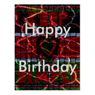 Kenya Happy Birthday Rasta colors Text Postcard