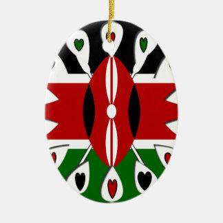 Kenya Hearts Double-Sided Oval Ceramic Christmas Ornament