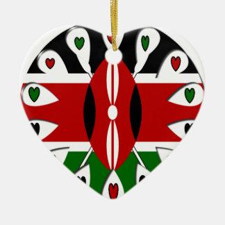 Kenya Hearts Double-Sided Heart Ceramic Christmas Ornament