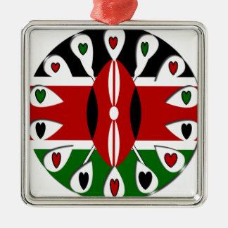 Kenya Hearts Square Metal Christmas Ornament