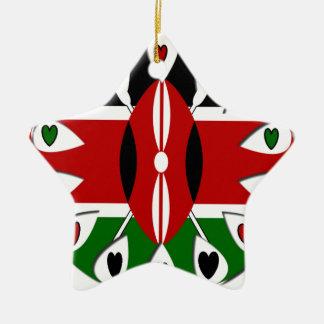 Kenya Hearts Double-Sided Star Ceramic Christmas Ornament