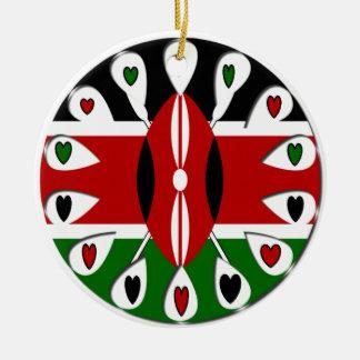 Kenya Hearts Double-Sided Ceramic Round Christmas Ornament