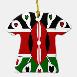 Kenya Hearts Double-Sided T-Shirt Ceramic Christmas Ornament