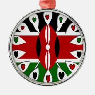 Kenya Hearts Round Metal Christmas Ornament