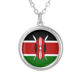 Kenya Kenyan Flags Silver Plated Necklace