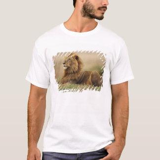 Kenya, Masai Mara. Adult male lion on termite T-Shirt