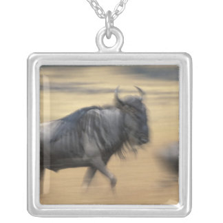 Kenya, Masai Mara Game Reserve, Blurred image Silver Plated Necklace