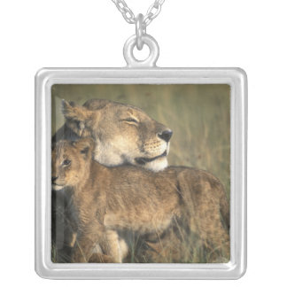 Kenya, Masai Mara Game Reserve, Lioness Silver Plated Necklace